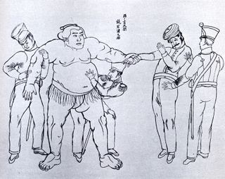 Perry Marines inspect sumo wrestler, March 1854