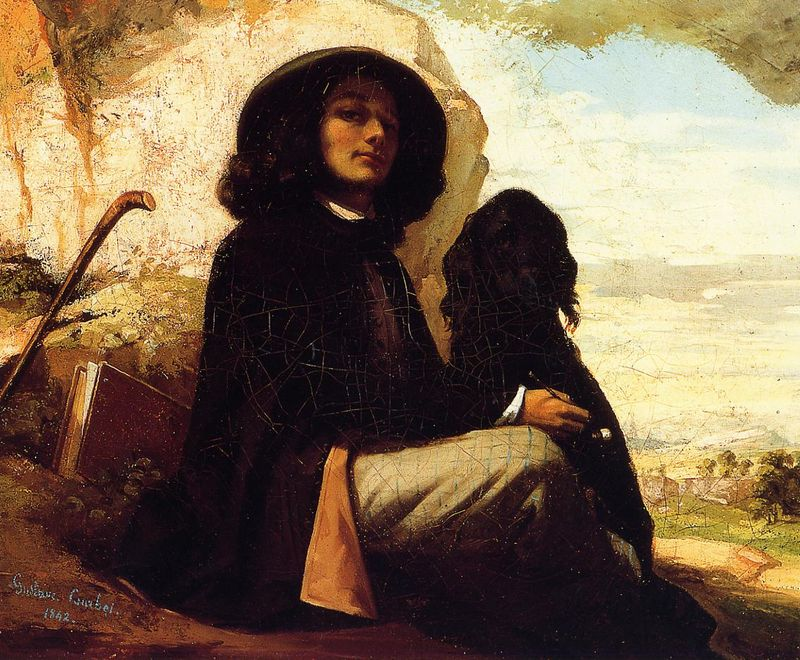 Courbet, self portrait with black dog, 1842